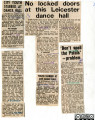 A collection of newspaper cuttings from the Leicester Mercury regarding the Palais de Danse,...