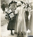 Armistice celebrations, local ladies with union flags, 1918